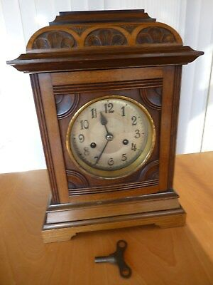 Antique Pendulum Chiming Mantle Clock & Key