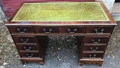 Antique Style Mahogany Leather Top Desk