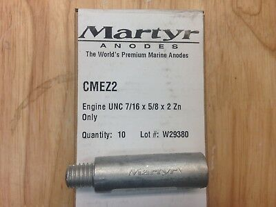 "Martyr Replacement Pencil Anodes Only - Zinc CMEZ2 5/8""x 2"" L (7/16-14 UNC) 10pa"