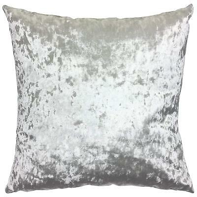 "Pack Of 2 Crushed Silver Grey Lustre Velvet Luxury 17"" Cushions Filled £19.99"