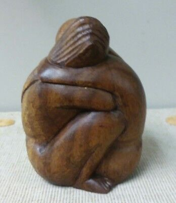 Hand Carved Solid Wood Nude Embracing Hugging Consoling Couple Figure