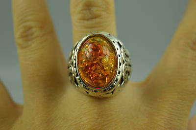 Collectible Decor Chinese tibet silver CARVE Flower Inaly Amber RARE Woman Ring