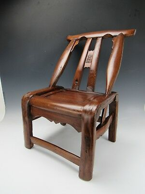 A Chinese Antique Brown Hardwood Chair Stool w/ Backrest Asian style