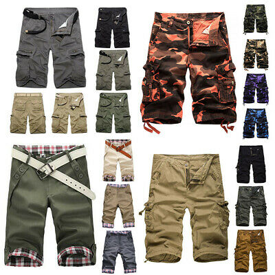 Mens Cargo Pants Shorts Army Pockets Work Half Pants Military Trousers Summer AU