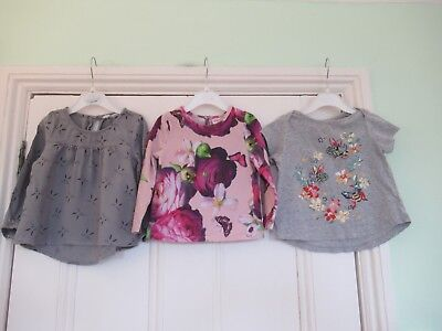 18-24m: 3 cute tops: TED BAKER floral/H&M grey bunny blouse/GAP catfairy t-shirt