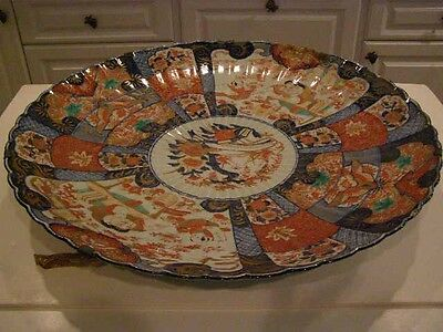 Antique Large Japanese Imari Fluted Saucer Dish Charger Iron Red & Gilt On Blue