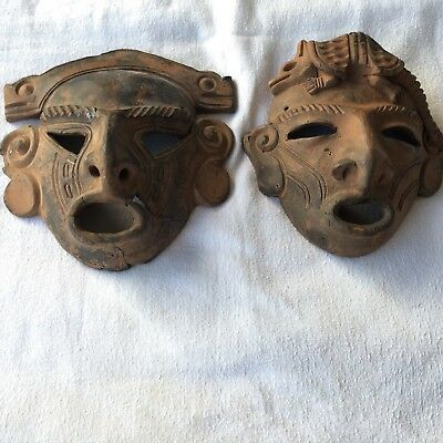 Lot of Two Terracotta Mexican Mayan Aztec Inca Wall Masks