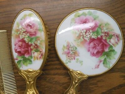 Antique Transfer Pink Red Roses Lilly of Valley Porcelain Hand Mirror Brush Comb