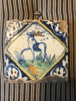 Antique Dutch Delft polychrome Tile of Deer Early 17th Century