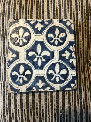 Antique Dutch Delft Tile of Fleur des lis  Early 17th Century