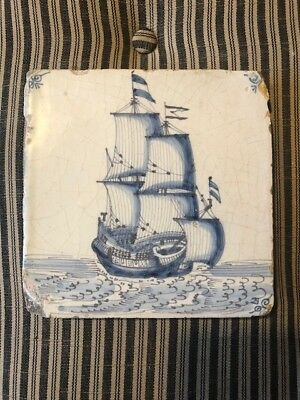 Antique Dutch Delft Tile Ship Very Nice  Early 17th Century