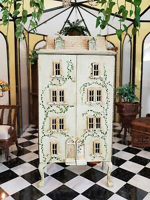 Dollhouse Miniature Igma Artisan Signed Joan Mclean Painted Cabinet Row House