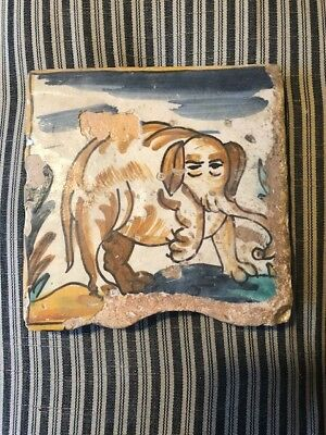 Antique Rare Spanish Catalan polychrome Tile of Elephant 18th Century Delft Tile