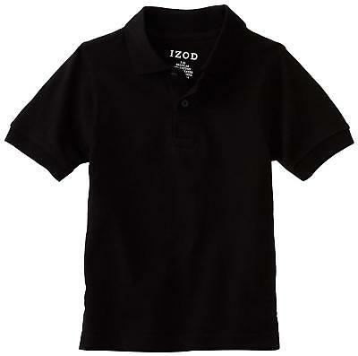 Izod Boy's School Approved Easy Care Short Sleeve Polo Shirt NWT Size 6  Black