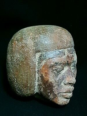 Rare Ancient Antique Egyptian Head Of Nubian King Luxor Sandstone Egypt Bc
