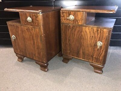 Pair of tables bedside Art Déco years 30,40' Bramble Of Walnut Beautiful Quality