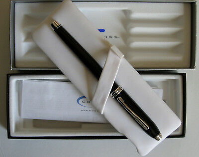 Cross Townsend Black Lacquer & Rhodium Roller Ball with Box