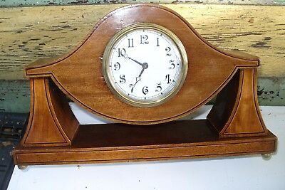 Antique Edwardian Mantle 8 day Clock with inlay platform  escapement + key