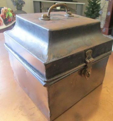 Antique Steel Strong Box - Cash Box - Brass Handle & Lock Clasp