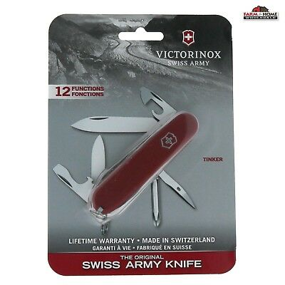 Victorinox Authentic Swiss Army 12-In-1 Folding Red Tinker Pocket Knife ~ New