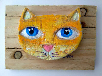 Yellow Cat  Painting Wall Art  Decor Palette wood ready to hang  FREE SHIPPING