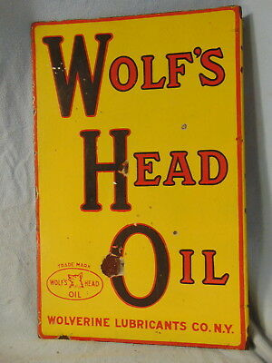 Early Wolf's Head Oil Porcelain Flange Sign Super Rare Original