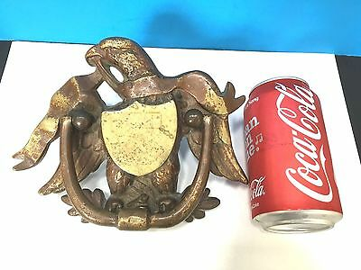 RARE Antique HEAVY BRASS American EAGLE Door Knocker WITH BANNER AND Shield -EXC
