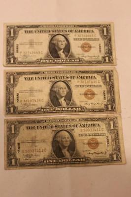 Lot of 3 1935 Hawaii One Dollar $1 WWII Silver Certificate Notes  ++