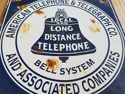 Vintage Local Long American Telephone telegraph Porcelain Sign Call Phone Old
