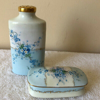 Antique Hand Painted O&EG Royal Austria Victorian Powder Shaker & Vanity Dish