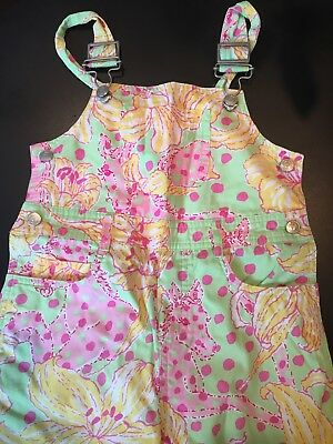 Girl's LILLY Pulitzer Pink Floral Polkadot Horse OverallsTee 4 5 6 Small
