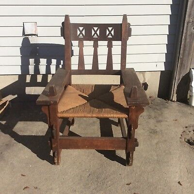 Arts And Crafts Mission Oak Side Chair Rush Seat