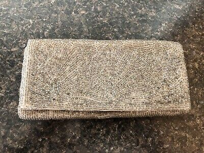"Unique 1950's original Hand ""Made in Japan"" Beaded grey/silver Clutch"