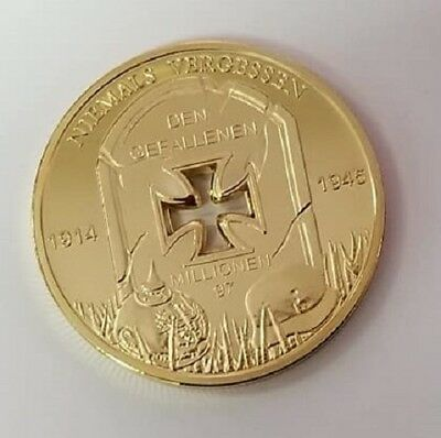 WW2 WWII German Fallen soldiers commemorative military coin medallion gold plate