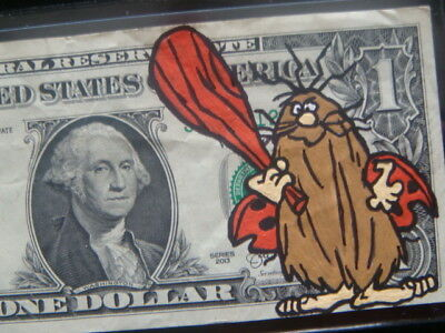 Hand Painted - Captain Cave Man - Art Work, Real Authentic One Dollar Bill, Hobo