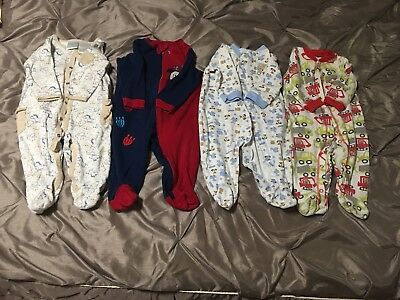baby boy 6-9 months sleepers lot of 4