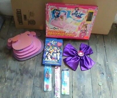 "Sailor Moon Lot - Bow, set  box, toothbrushes, pink ""jewelry box bottom"" etc"