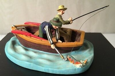 "Department 56 Vintage Men Fishing Row Boat Lake Decor Trout 3 1/2"" Resin Blue"