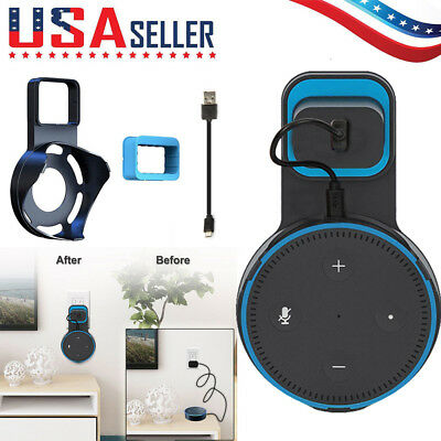 Echo Dot Wall Mount Stand Holder Stand + Cable For Amazon Alexa Echo Dot 2 Black