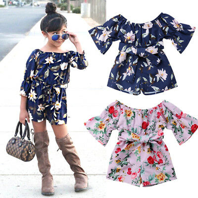 Kids Baby Girl Flower Off Shoulder Romper Shorts Playsuit Outfits Clothes Summer