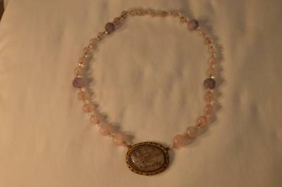 Antique Chinese Carved Pink Lavender Jade Amethyst, Crystal Gilt Silver Necklace