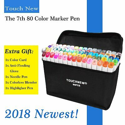 TouchNew Marker Pen 80 Color Set Graphic Animation Art Sketch Twin Point + Bag