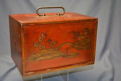 Vintage Asian Oriental Travel Jewelry Box Red  Enamel Decorated Figures Nr!!