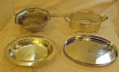 Lot of 4 Vintage Silverplated Trays Bowl By Invicta & Liberty Craft