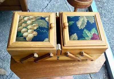 Vintage Accordian Style Wood 6 Sewing Box Lined With Felt Floral Fabric On Top
