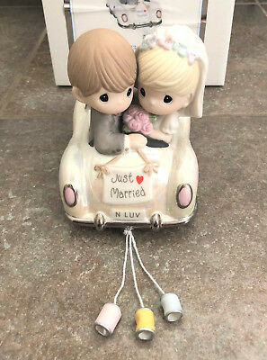 NEW PRECIOUS MOMENTS Just Married Wedding Car Bride Porcelain Figure 103018