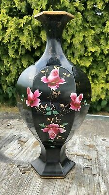 Vintage Antique Beautiful Black and Gold Large Flower Vase *