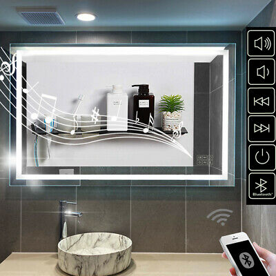 900/1200mm LED Mirror Wall Hung Bluetooth Heater Demister 5mm Glass for Bathroom