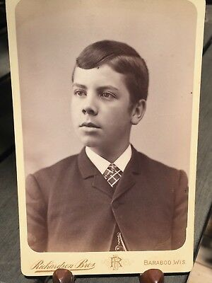Antique Victorian Cabinet Card Photo Handsome Young Man Baraboo Wisconsin