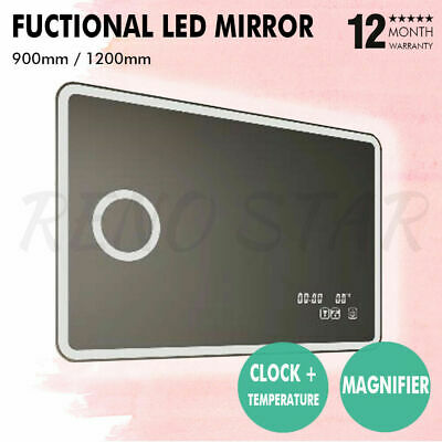 900/1200mm LED Mirror Magnified Touch Screen Heater Demister Clock Temperature